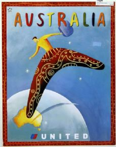 United Airlines, Vintage Travel Poster, Australia.